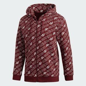 Adidas || Burgundy Originals Monogram Zip Hoodie